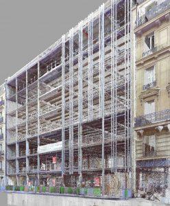 Nuage de points d'un bâtiment Hausmanien, Paris, réhabilitation du site